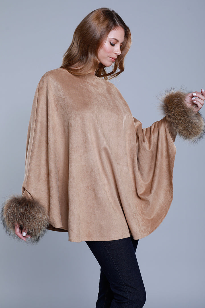 Raccoon Fur Cuffed Poncho, Faux Suede, Camel, Dolce Cabo