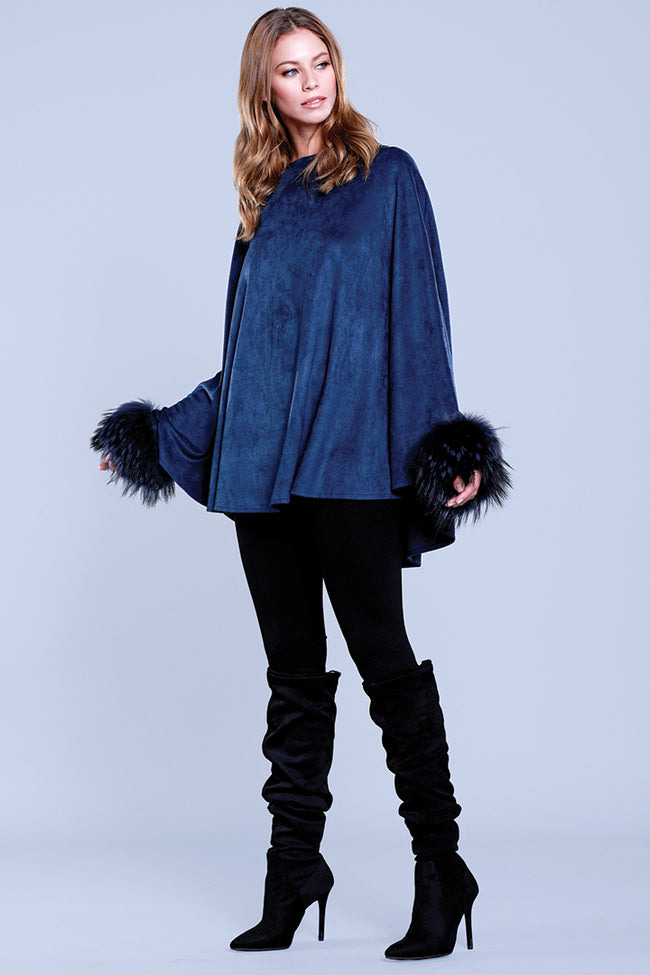 Raccoon Fur Cuffed Poncho, Faux Suede, Navy, Dolce Cabo
