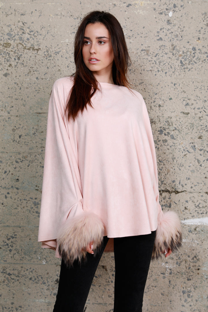 Raccoon Fur Cuffed Poncho, Faux Suede, Blush, Dolce Cabo