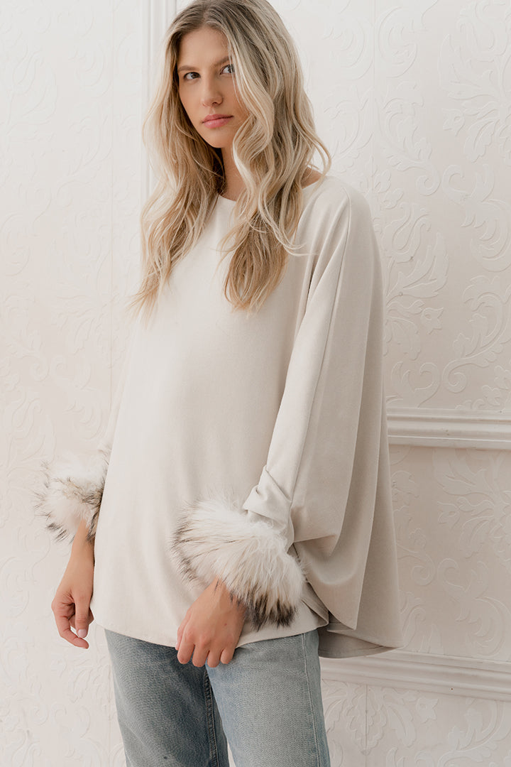Raccoon Fur Cuffed Poncho, Faux Suede, Beige, Dolce Cabo