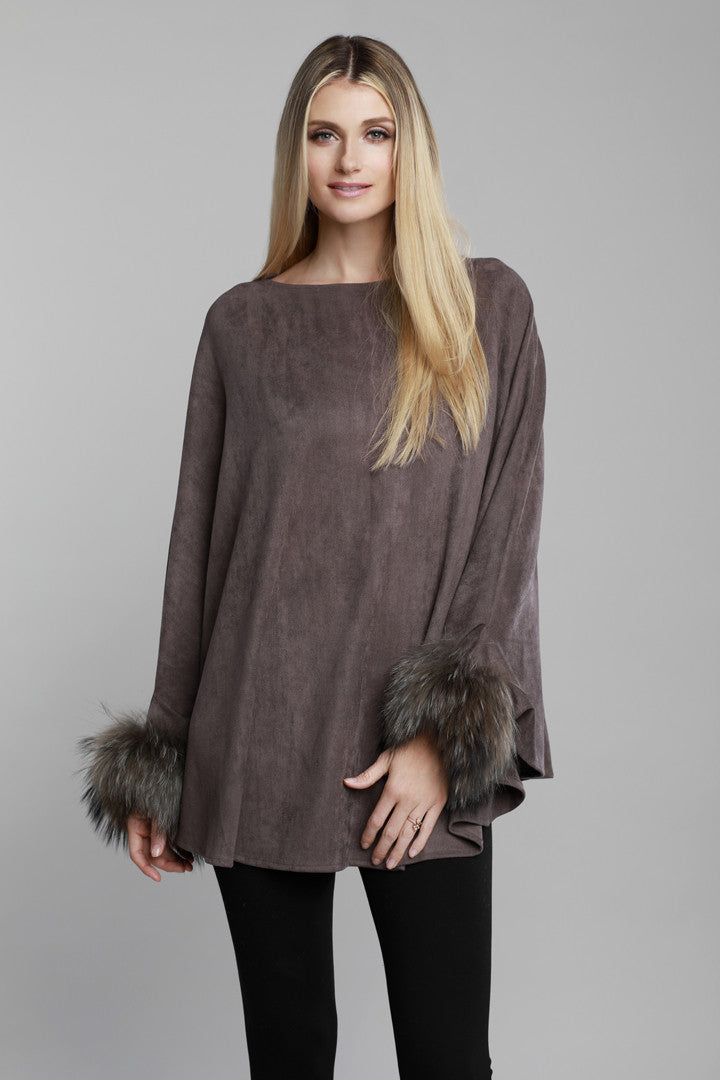 Raccoon Fur Cuffed Poncho, Faux Suede, Charcoal Grey, Dolce Cabo