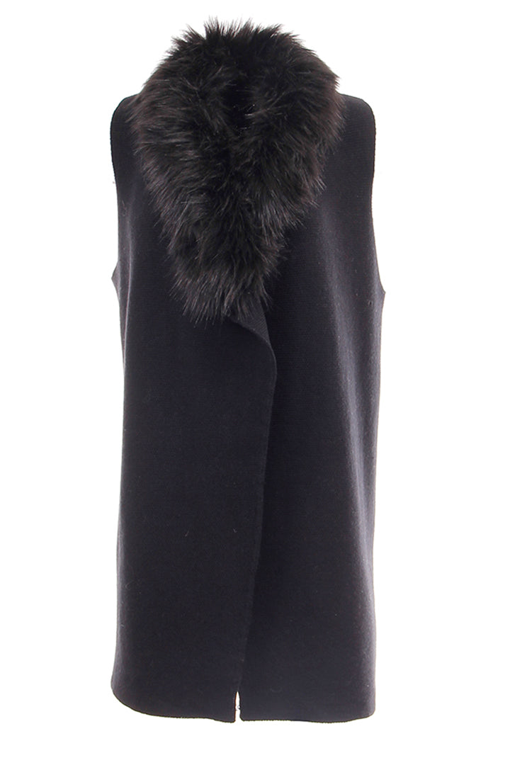 Knitted Fur Collar Vest, Black, Dolce Cabo