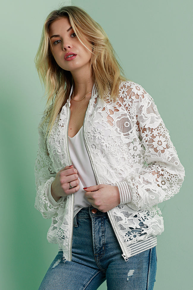 Lace Bomber, Jacket, Lace, White, Dolce Cabo