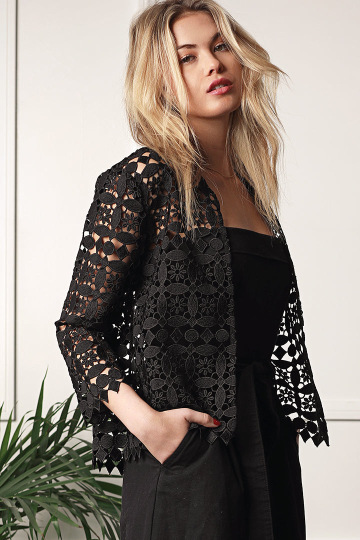 Lace Cropped Jacket, Crop Sleeve, Black, Dolce Cabo