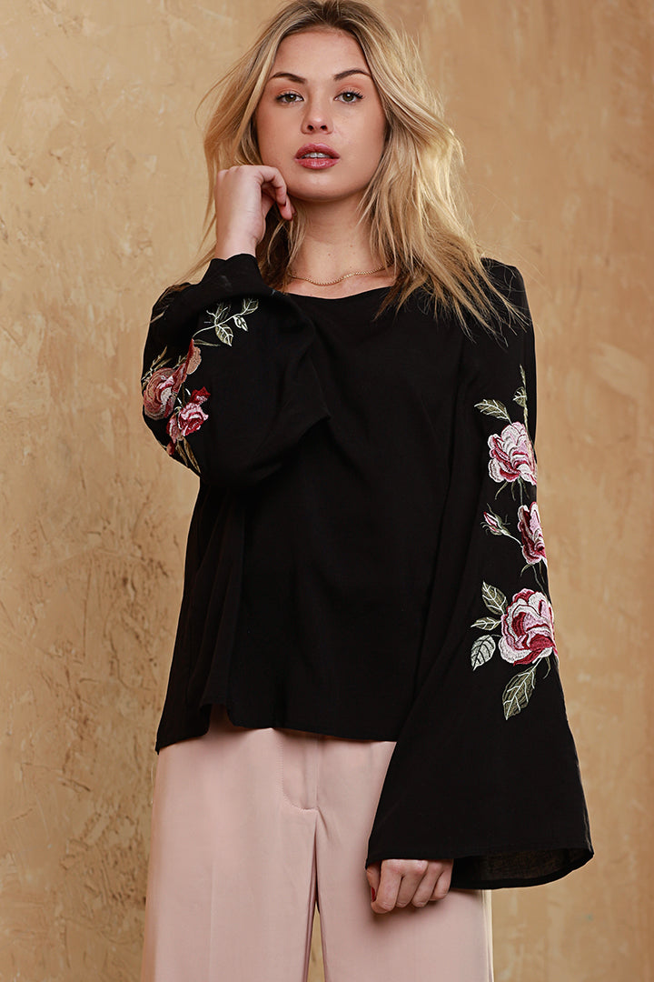Floral, embroidered, dolce cabo, bell sleeve, black