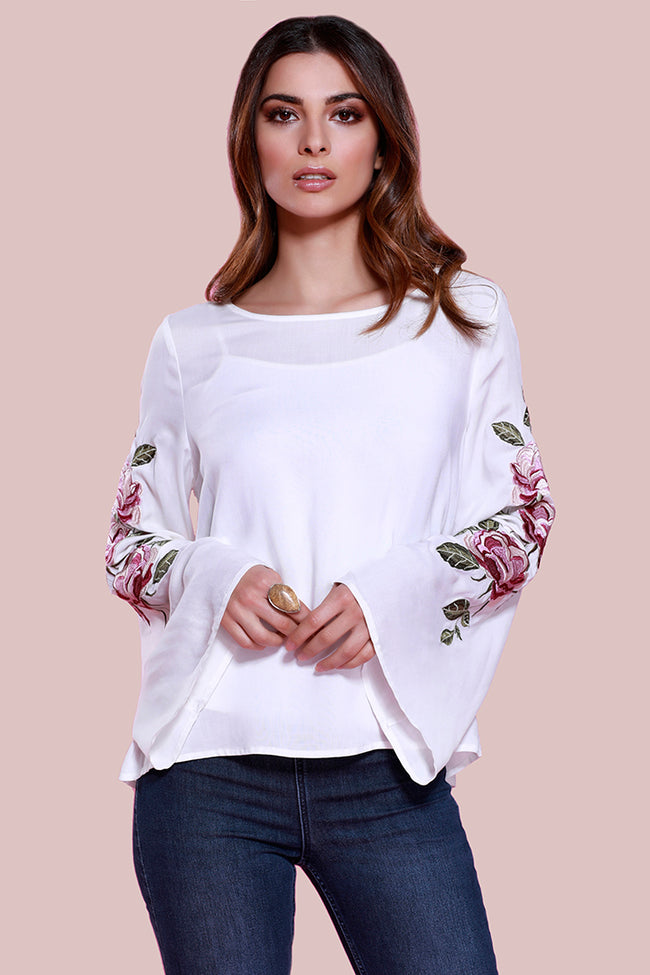 Floral, embroidered, dolce cabo, bell sleeve, white