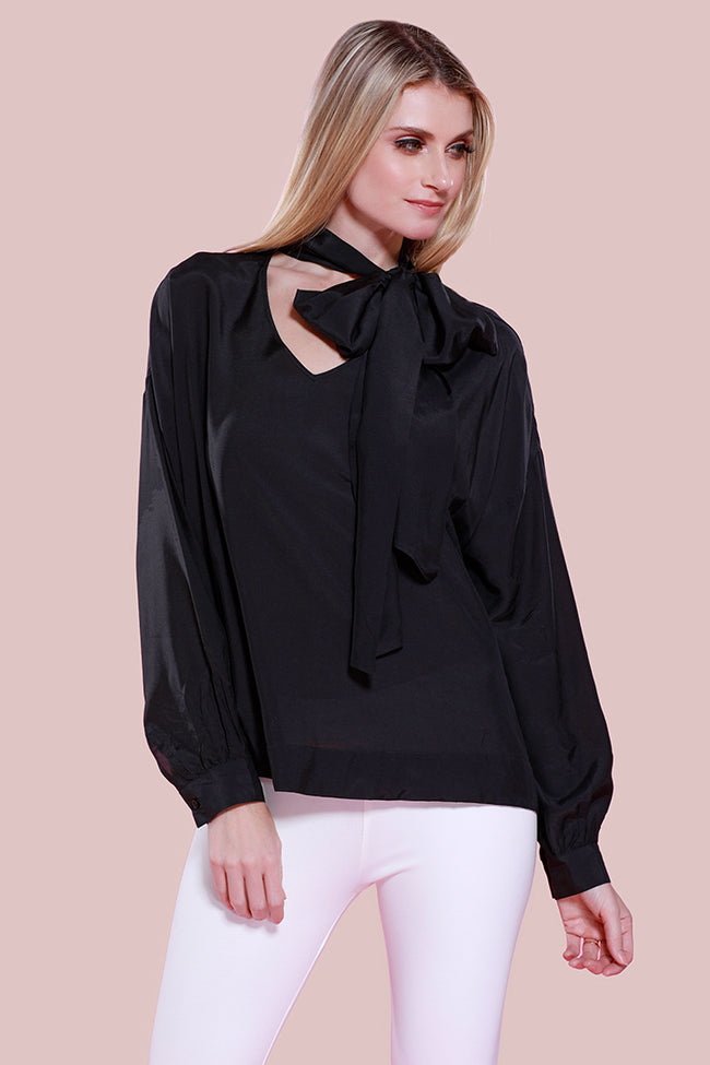 Silk Bow Blouse, Black, Dolce Cabo
