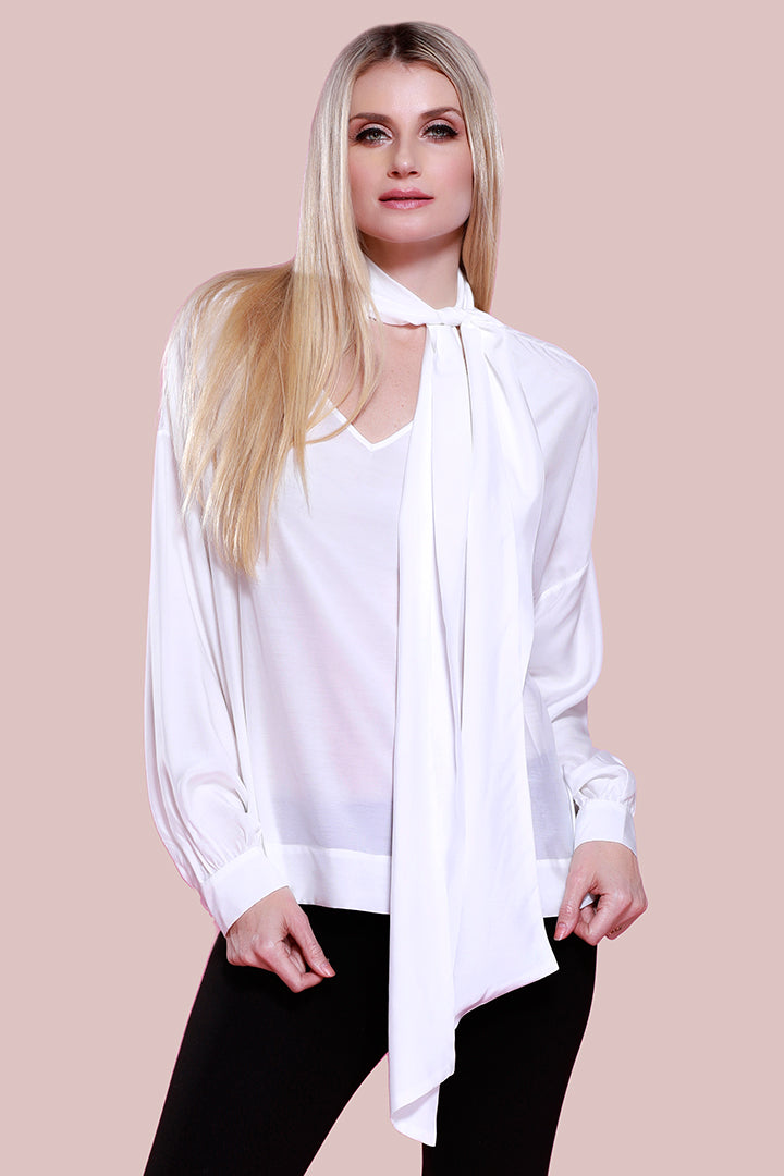 Silk Bow Blouse, Ivory, Dolce Cabo