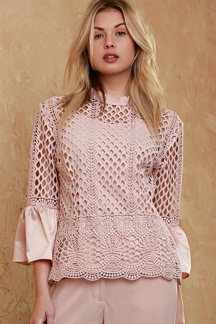 Satin Bell Sleeve Lace Blouse, Blush, Dolce Cabo