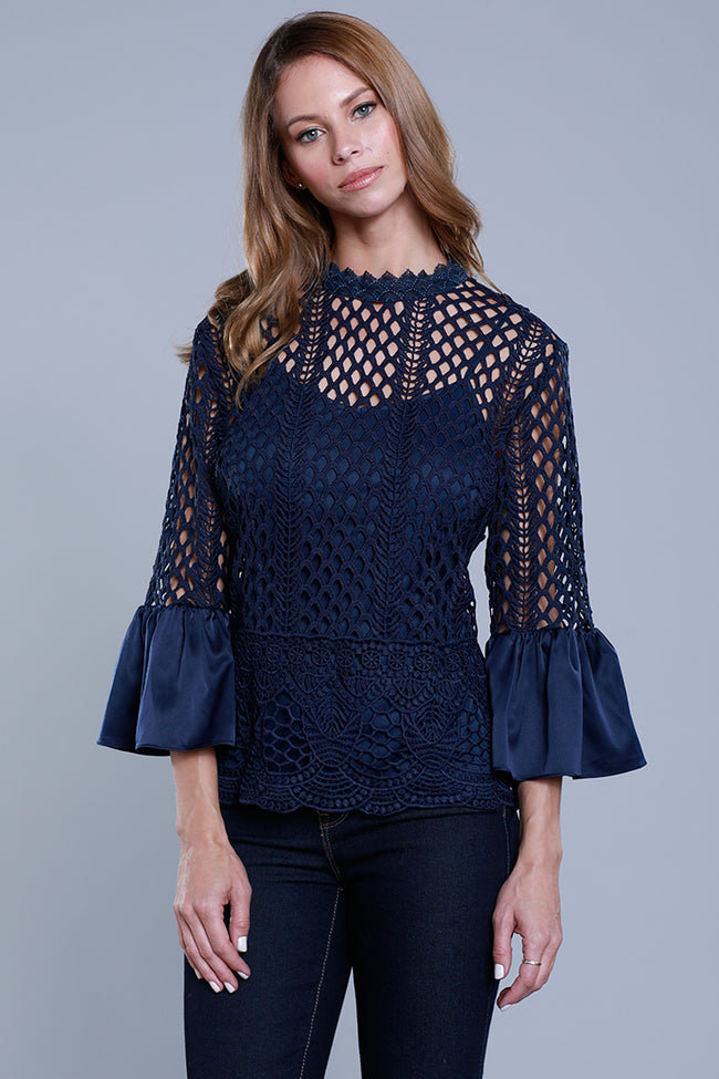 Satin Bell Sleeve Lace Blouse, Navy, Dolce Cabo