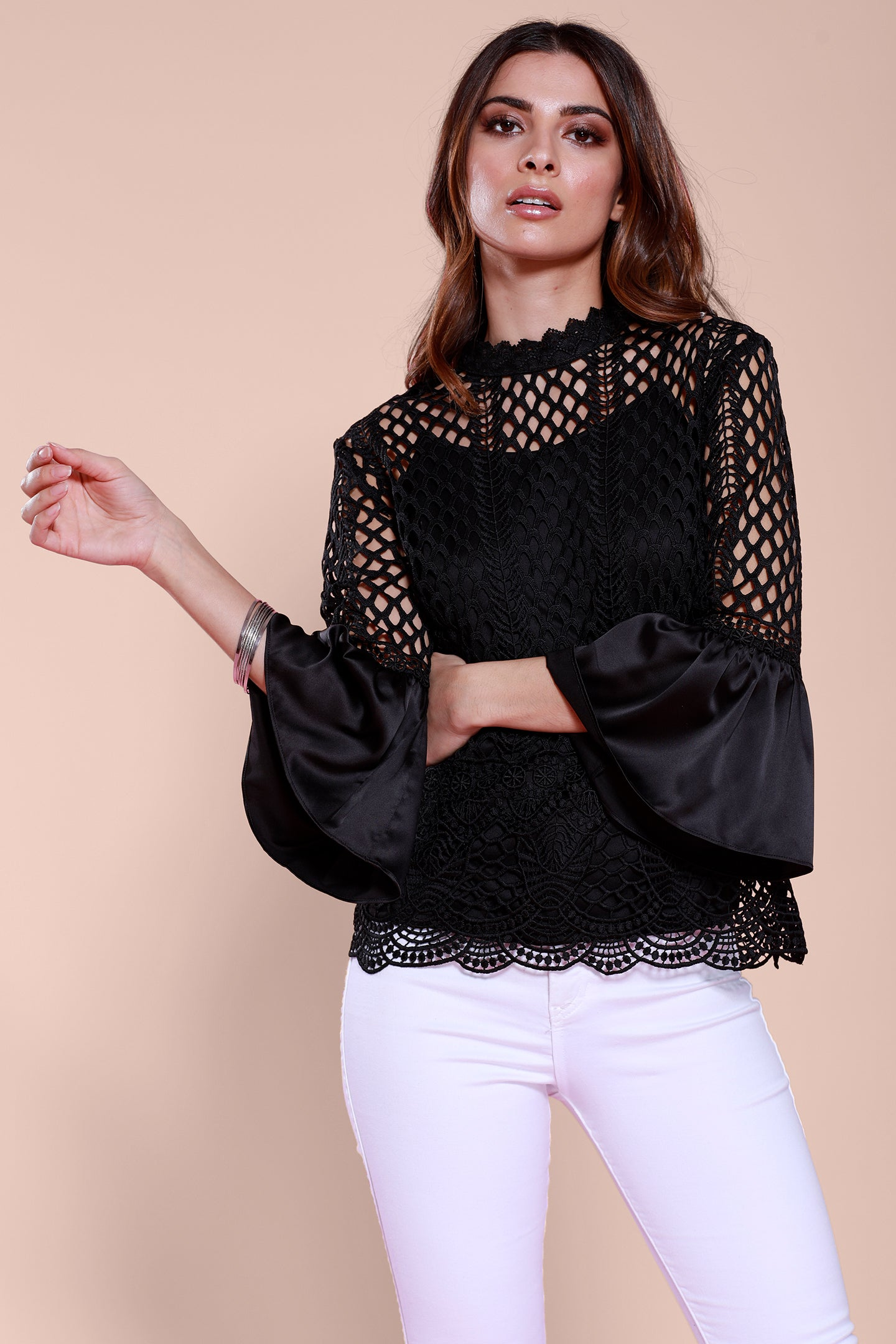 Satin Bell Sleeve Lace Blouse, Black, Dolce Cabo