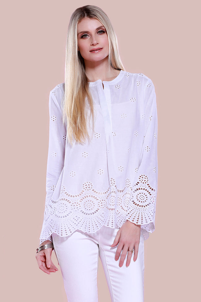 Cotton Poplin Eyelet Blouse, White, Dolce Cabo