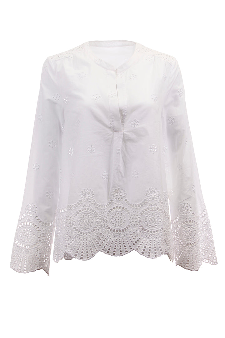 Poplin Eyelet Blouse, White, Cotton, Dolce Cabo