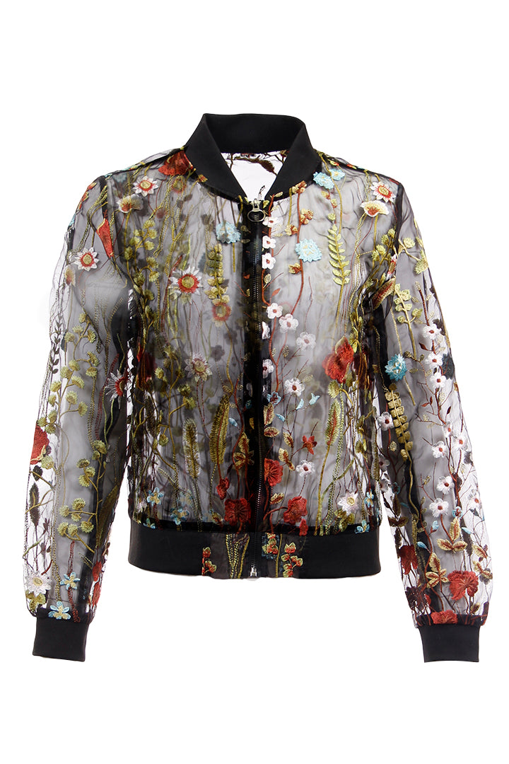 Embroidered, Floral, Jacket, Sheer