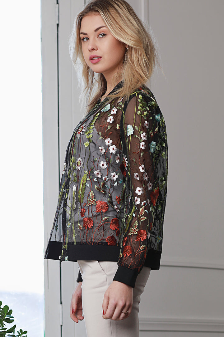 Embroidered, Floral, Jacket, Sheer, Dolce Cabo