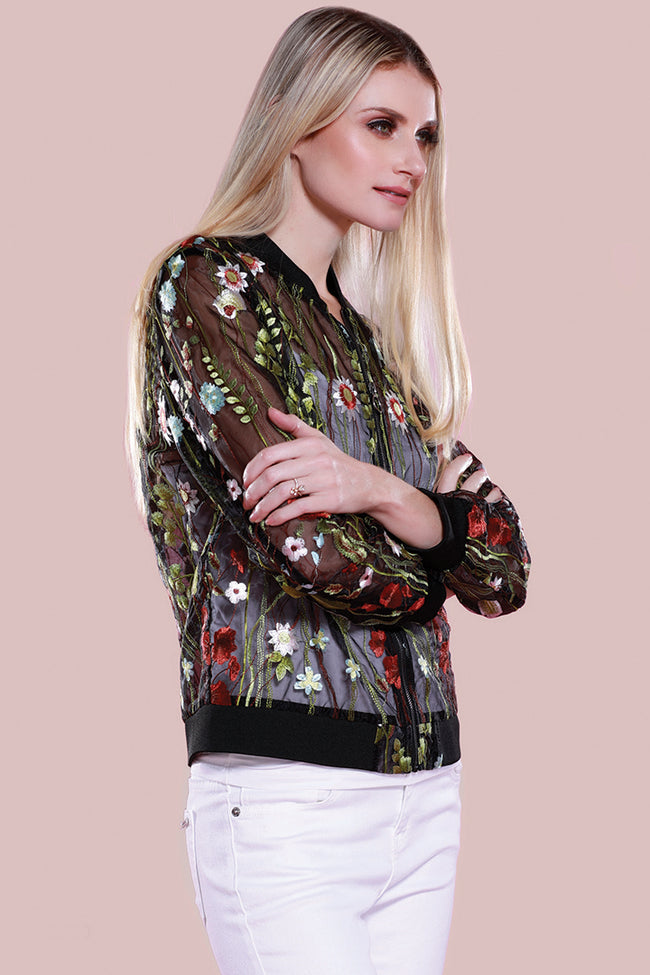 Sheer Embroidered Floral Jacket