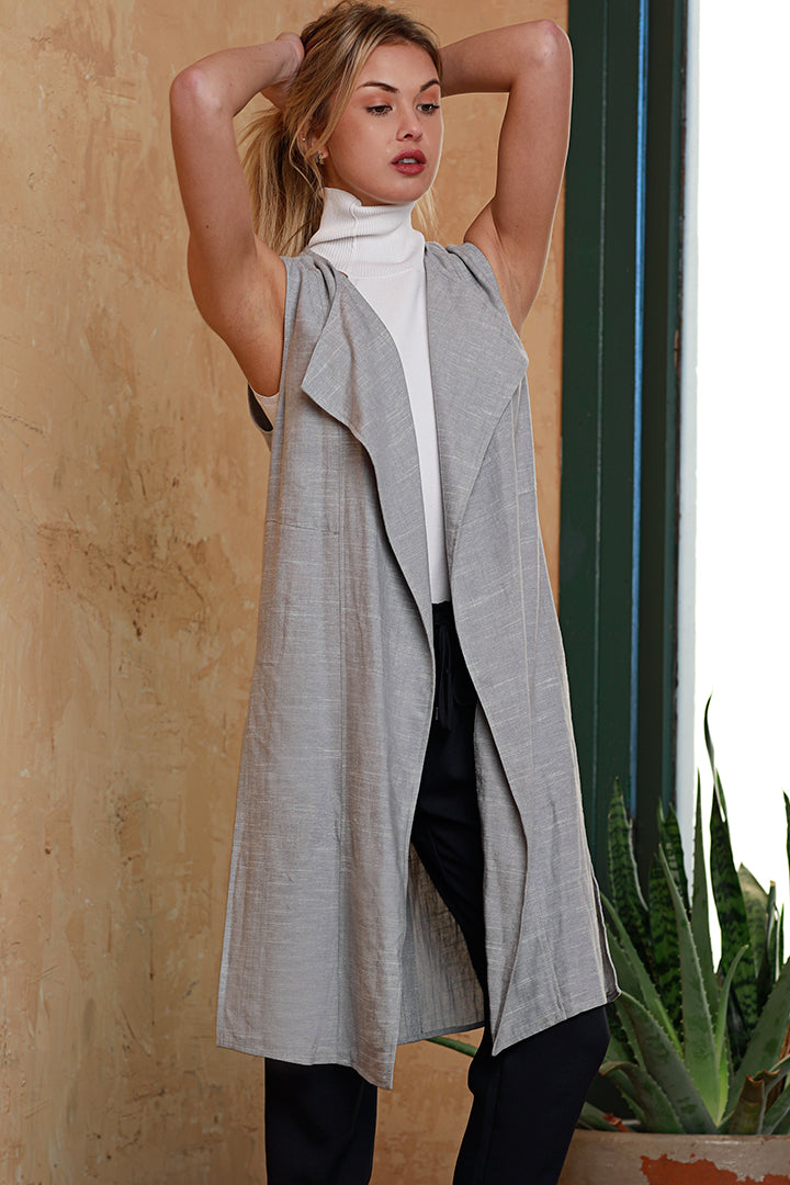 Linen Duster Vest, Light Blue, Dolce Cabo