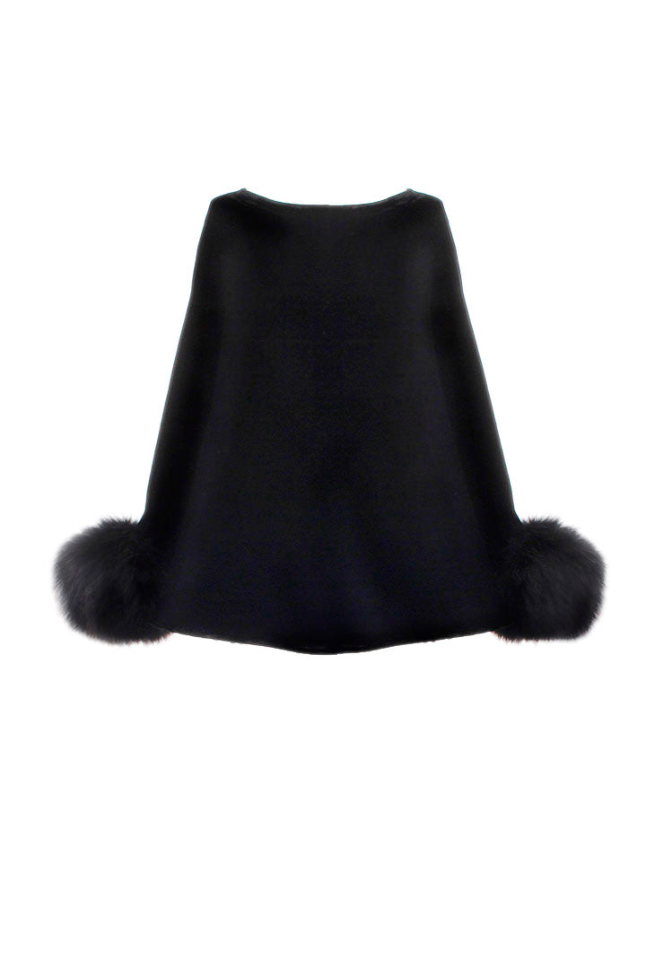 Raccoon Cuff Silk Velvet Poncho, Black, Dolce Cabo