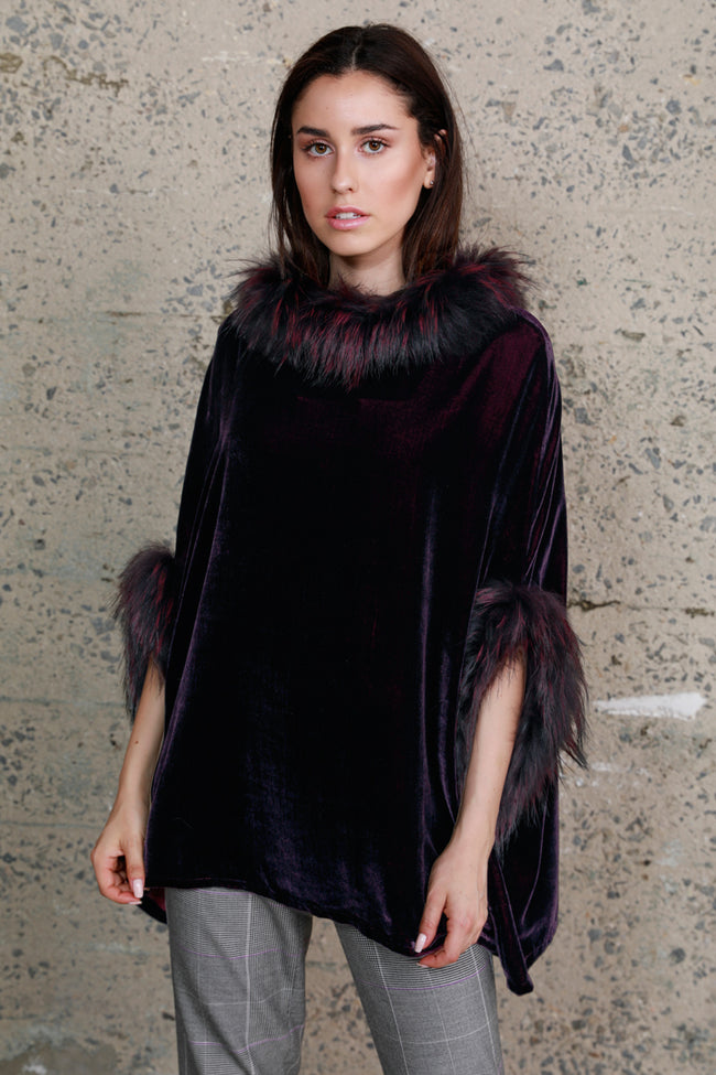 Silk Velvet Poncho + Raccoon Fur, Deep Purple, Dolce Cabo