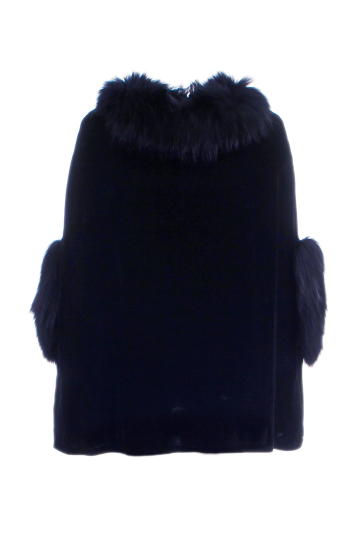 Silk Velvet Poncho + Raccoon Fur, Blue, Dolce Cabo