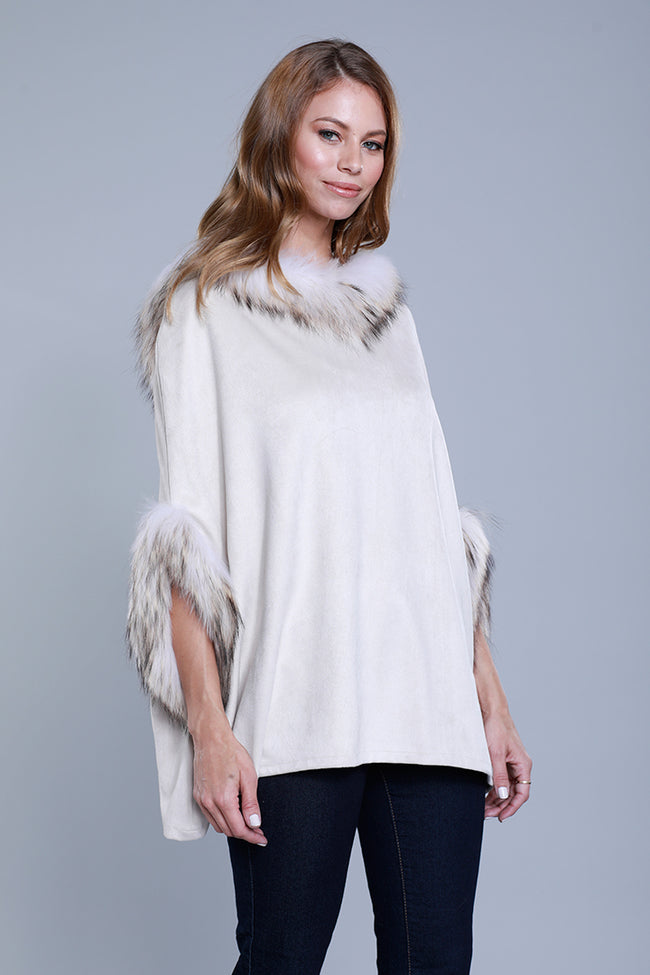 Faux Suede Fur Hoodie Poncho, Beige, Dolce Cabo