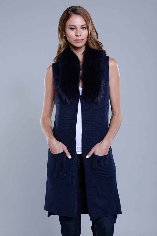 Knitted Vest + Detachable Fur, Raccoon Fur, Navy, Dolce Cabo