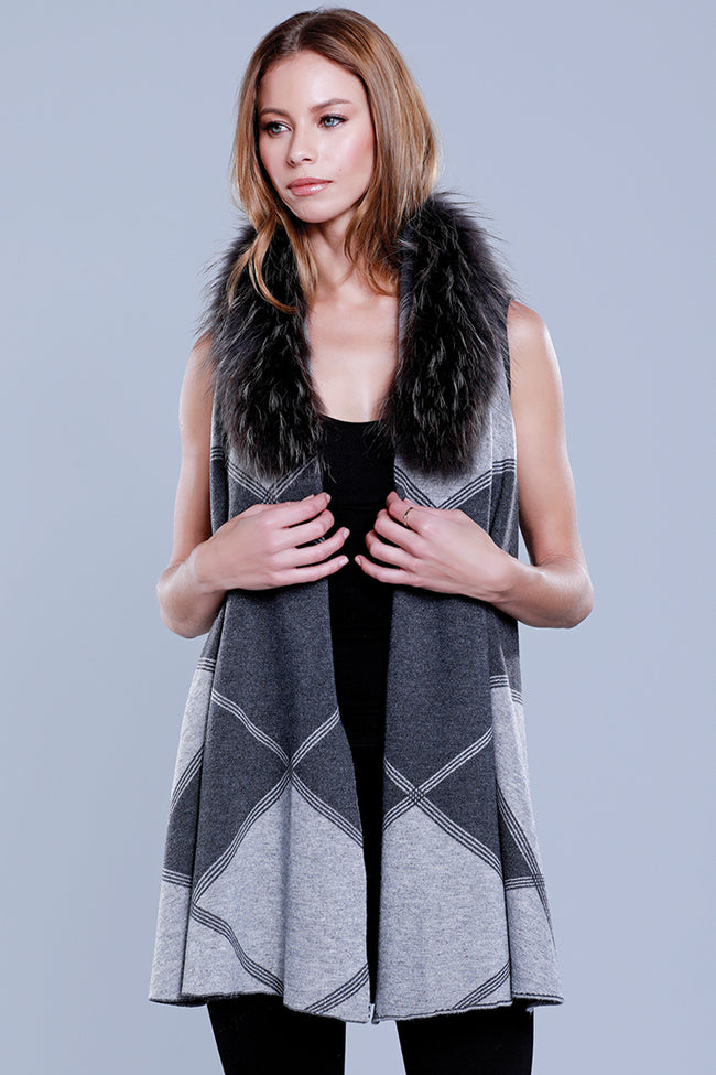 Plaid Knit Vest + Fur Collar, Multi, Dolce Cabo