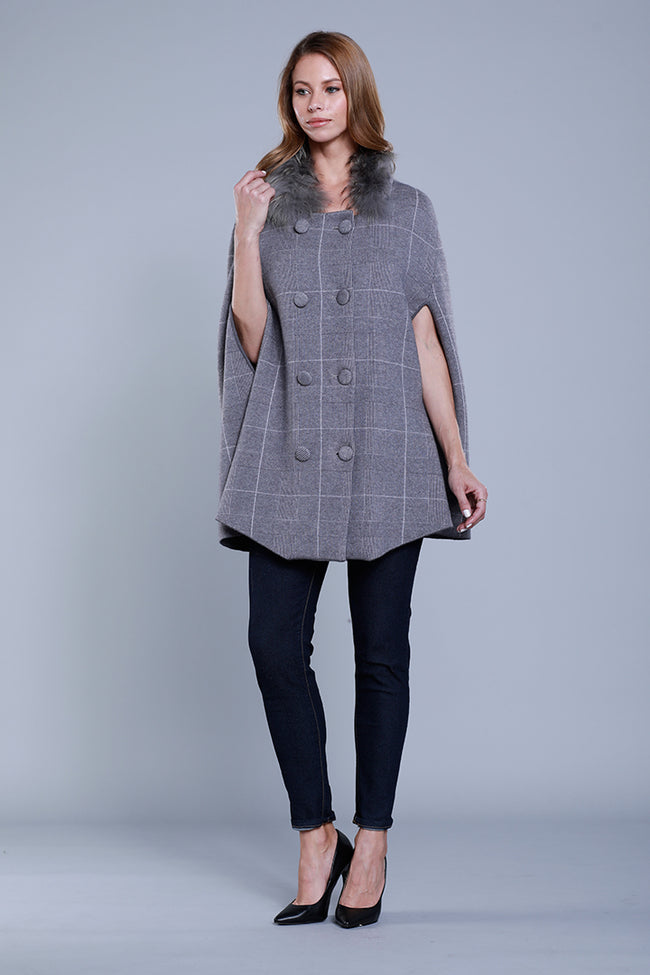 Genuine Fur Collar Poncho, Grey Plaid, Dolce Cabo
