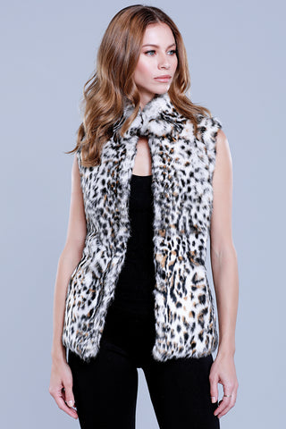 Knitted Fur Collar Vest