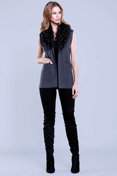 Knitted Vest + Raccoon Fur Collar, Charcoal, Dolce Cabo