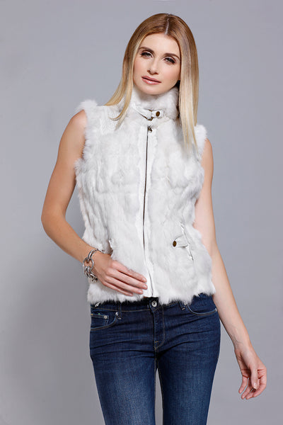 Rabbit Fur Zip Vest with knit, Ivory, Dolce Cabo