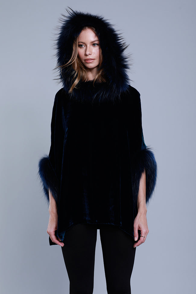 Velvet Hoodie Poncho + Fur, Blue, Dolce Cabo