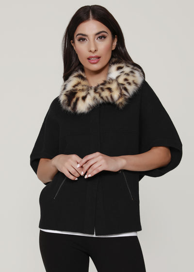 faux fur structured cardigan
