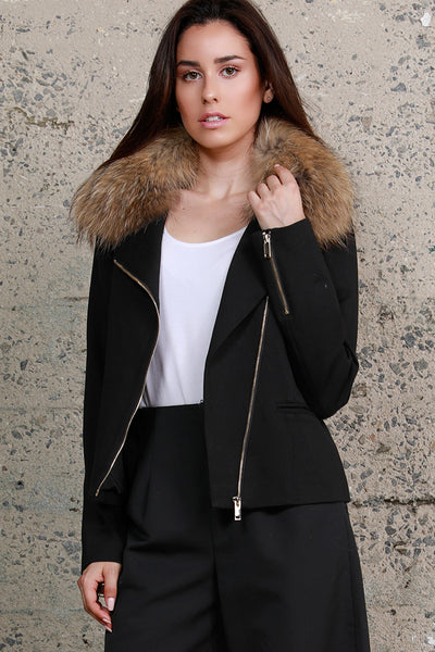 Raccoon Ponte Moto Jacket, Black, Dolce Cabo