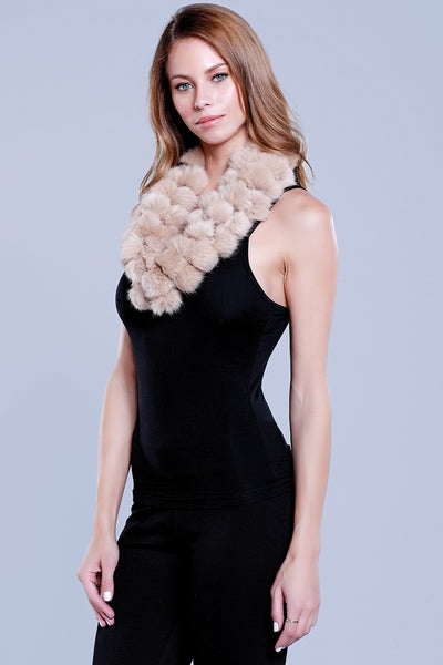 Infinity Rabbit Fur Scarf, Nude, Dolce Cabo