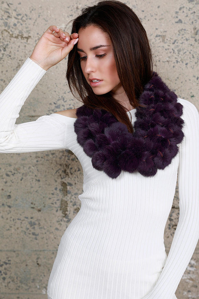 Infinity Rabbit Fur Scarf, Purple, Dolce Cabo