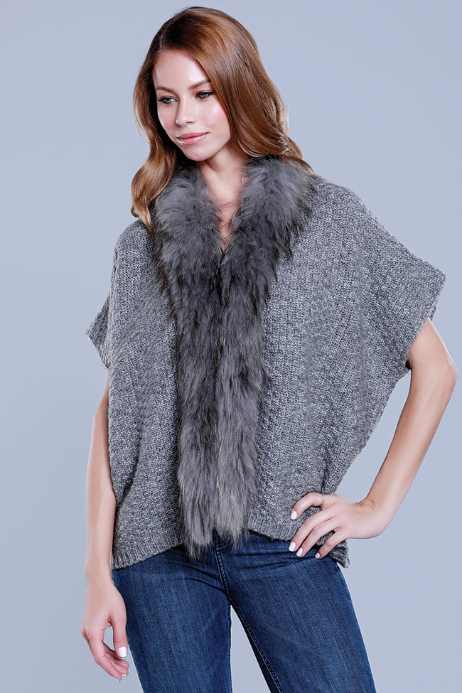 Short Cardi + Raccoon Trim, Grey, Dolce Cabo