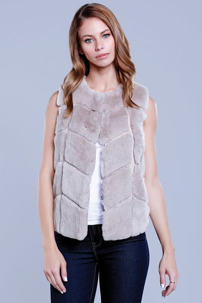 Chevron Rex Rabbit Fur Vest, Blush, Dolce Cabo