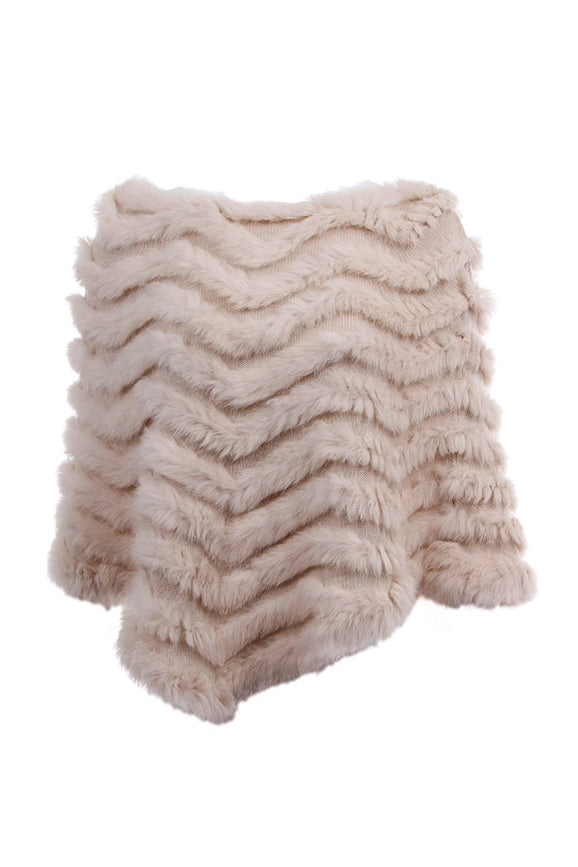 Rabbit Fur Knit Poncho, Beige, Dolce Cabo