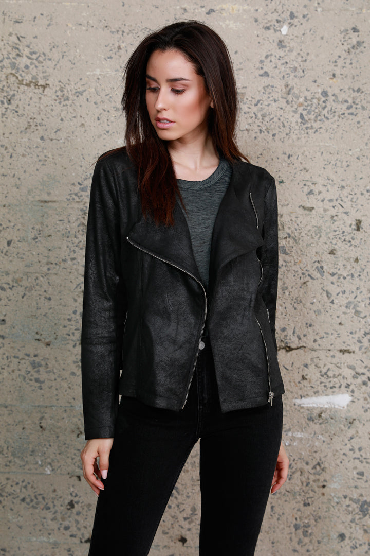 Faux Leather + Knit Moto Jacket, Black, Dolce Cabo