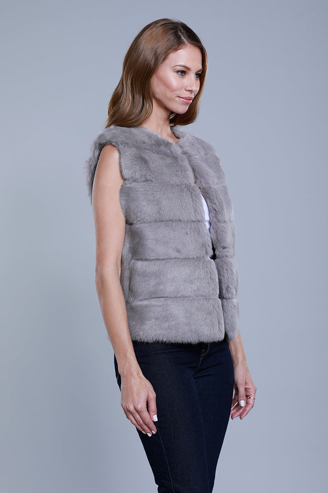 Rabbit Fur Panel Vest, Grey, Dolce Cabo