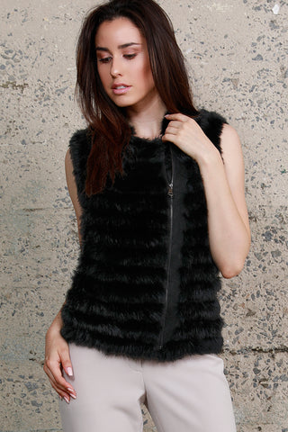 Shingled Rabbit Fur Vest