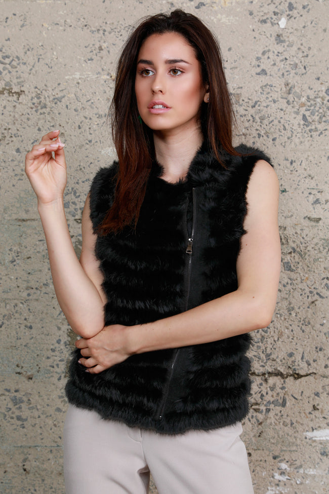 Moto Zip Rabbit Fur Vest, Black, Dolce Cabo