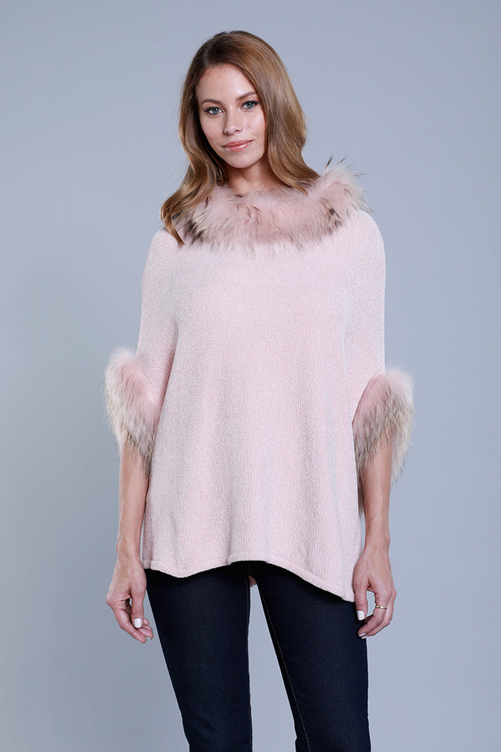Chenille Poncho + Raccoon Fur, Blush, Dolce Cabo