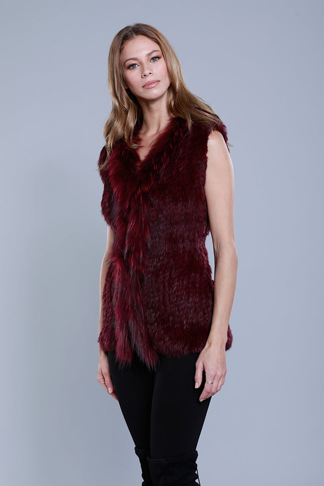 Rabbit + Raccoon Trim Vest, Wine, Dolce Cabo