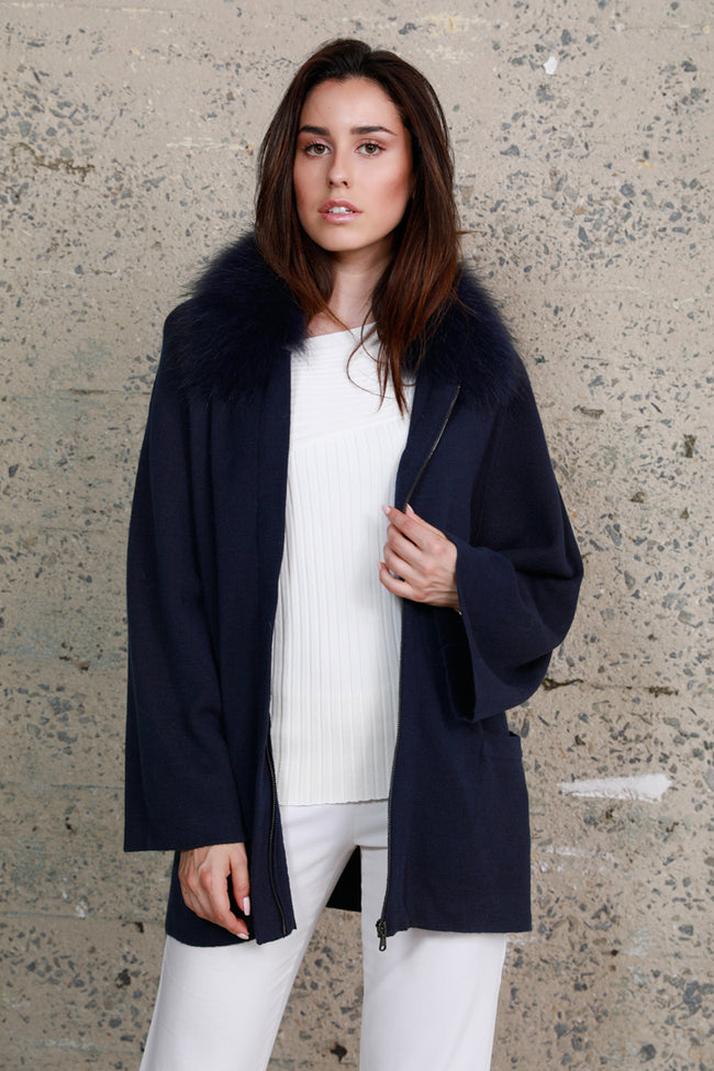 Knitted Jacket + Raccoon Collar, Navy, Dolce Cabo