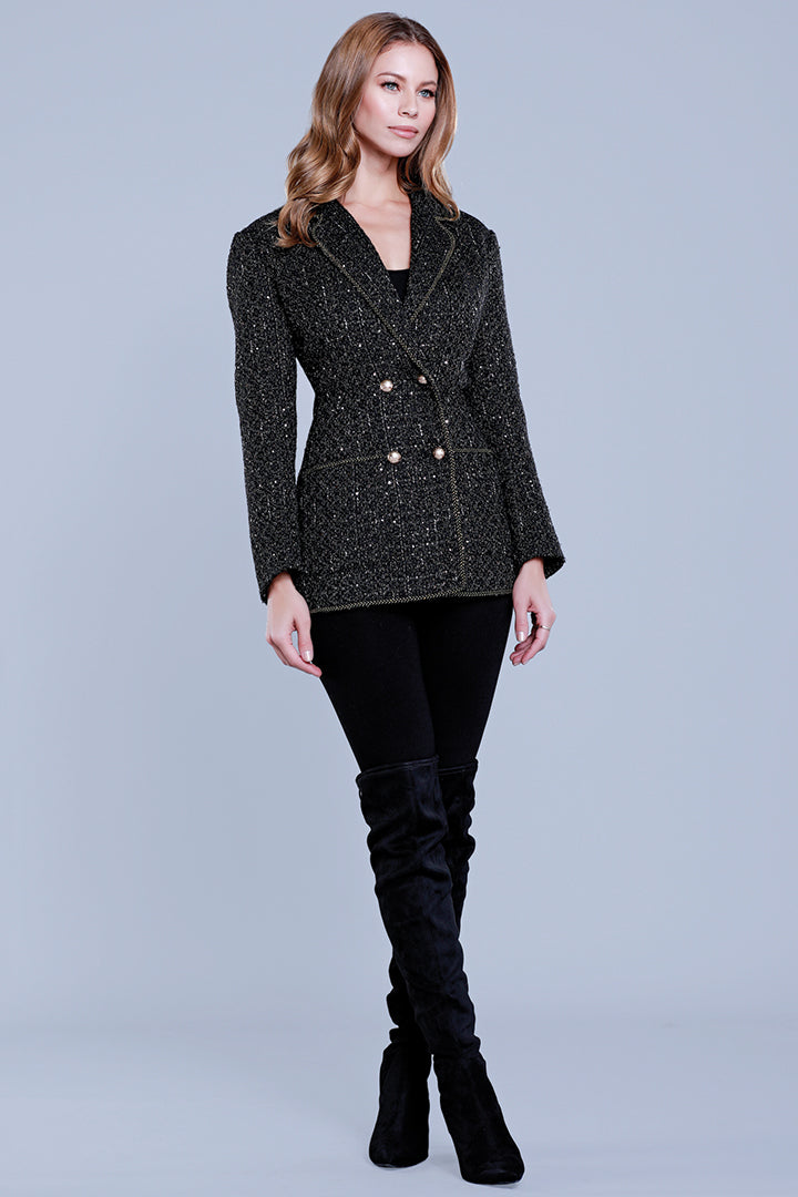 Tweed Gold Luxe Blazer, Black/Multi, Dolce Cabo