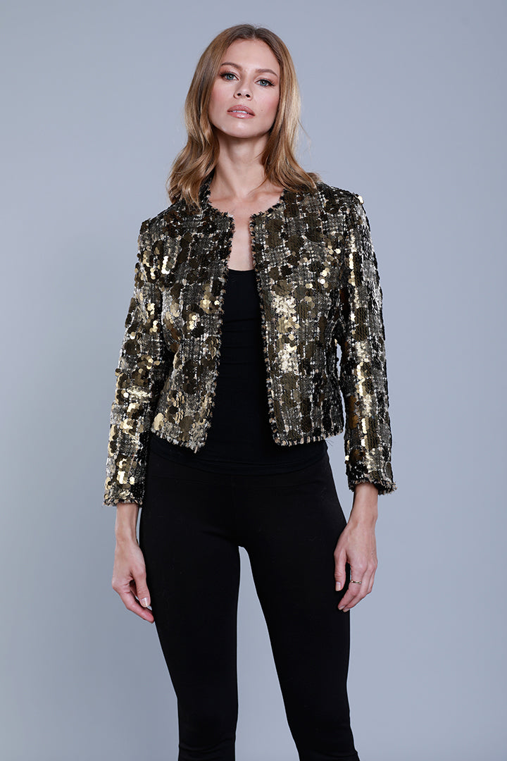 Sequin Tweed Crop Jacket, Gold, Dolce Cabo