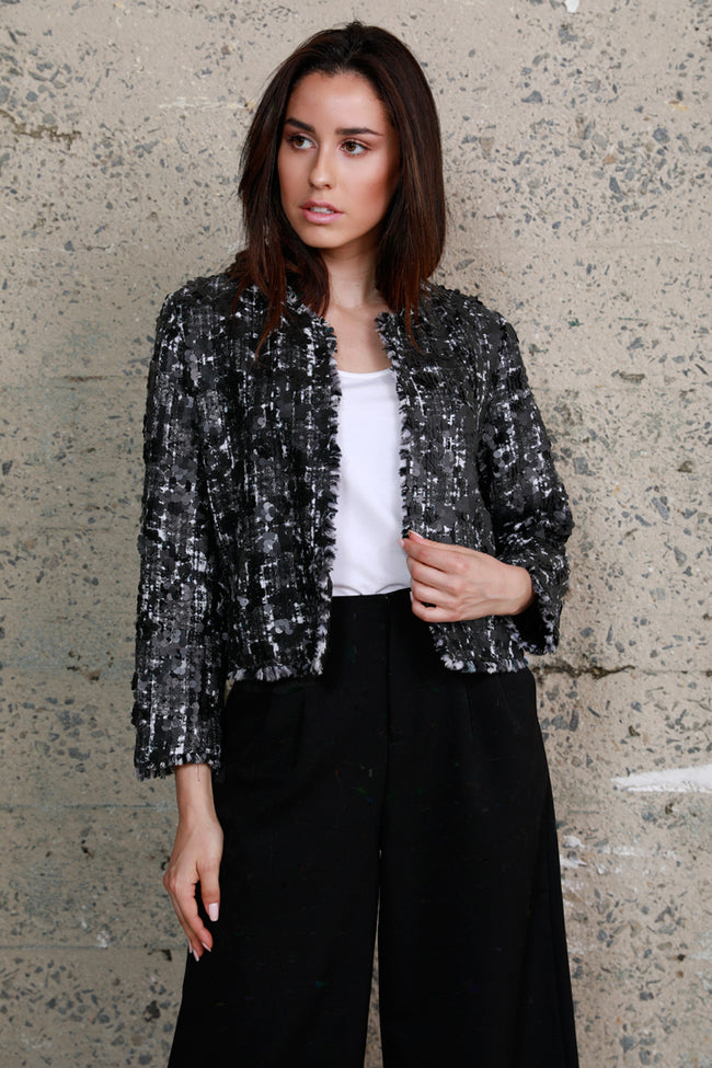 Sequin Tweed Crop Jacket, Black, Dolce Cabo