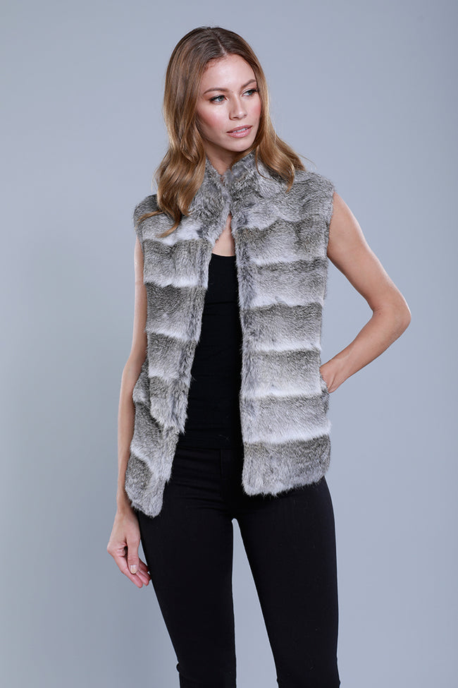 Natural Rabbit Vest, Grey Multi, Dolce Cabo